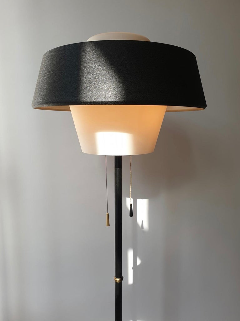 Rare Black Metal and Opaline Floor Lamp by Louis Kalff, The Netherlands 1950s For Sale 8