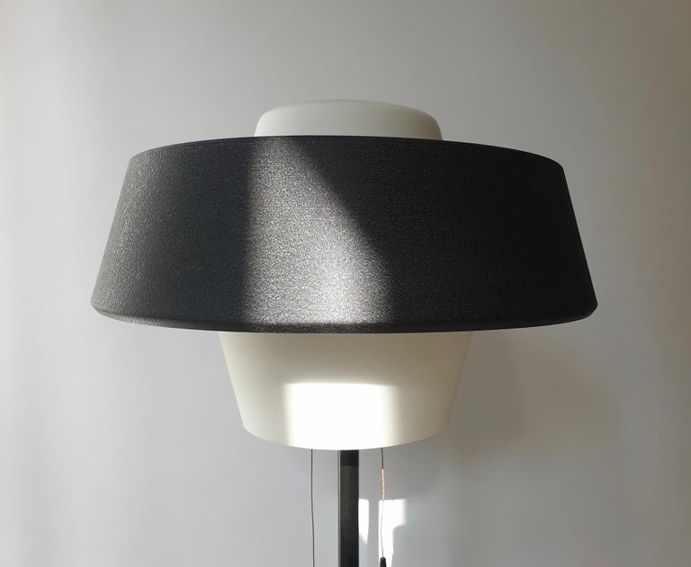 Rare Black Metal and Opaline Floor Lamp by Louis Kalff, The Netherlands 1950s For Sale 9