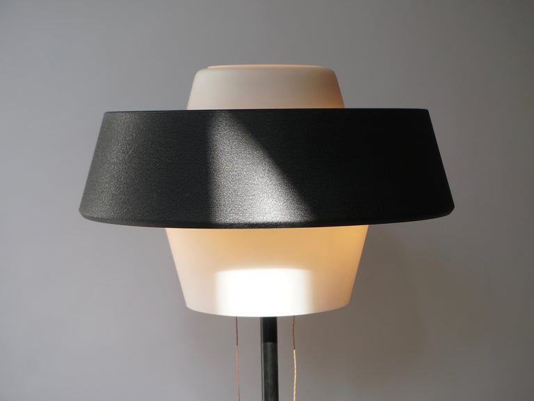 Rare Black Metal and Opaline Floor Lamp by Louis Kalff, The Netherlands 1950s For Sale 10