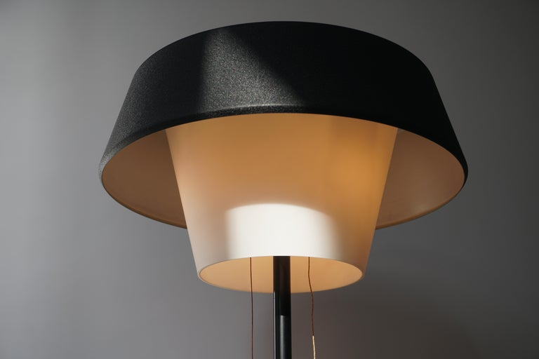 Rare Black Metal and Opaline Floor Lamp by Louis Kalff, The Netherlands 1950s For Sale 11