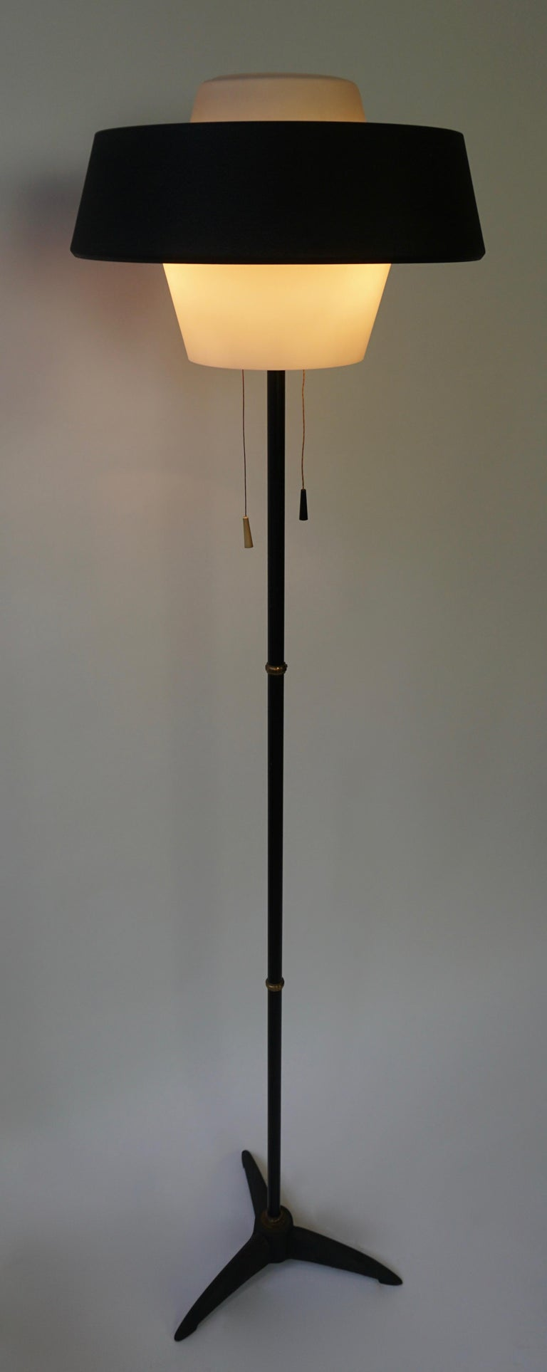 Rare Black Metal and Opaline Floor Lamp by Louis Kalff, The Netherlands 1950s In Good Condition For Sale In Antwerp, BE