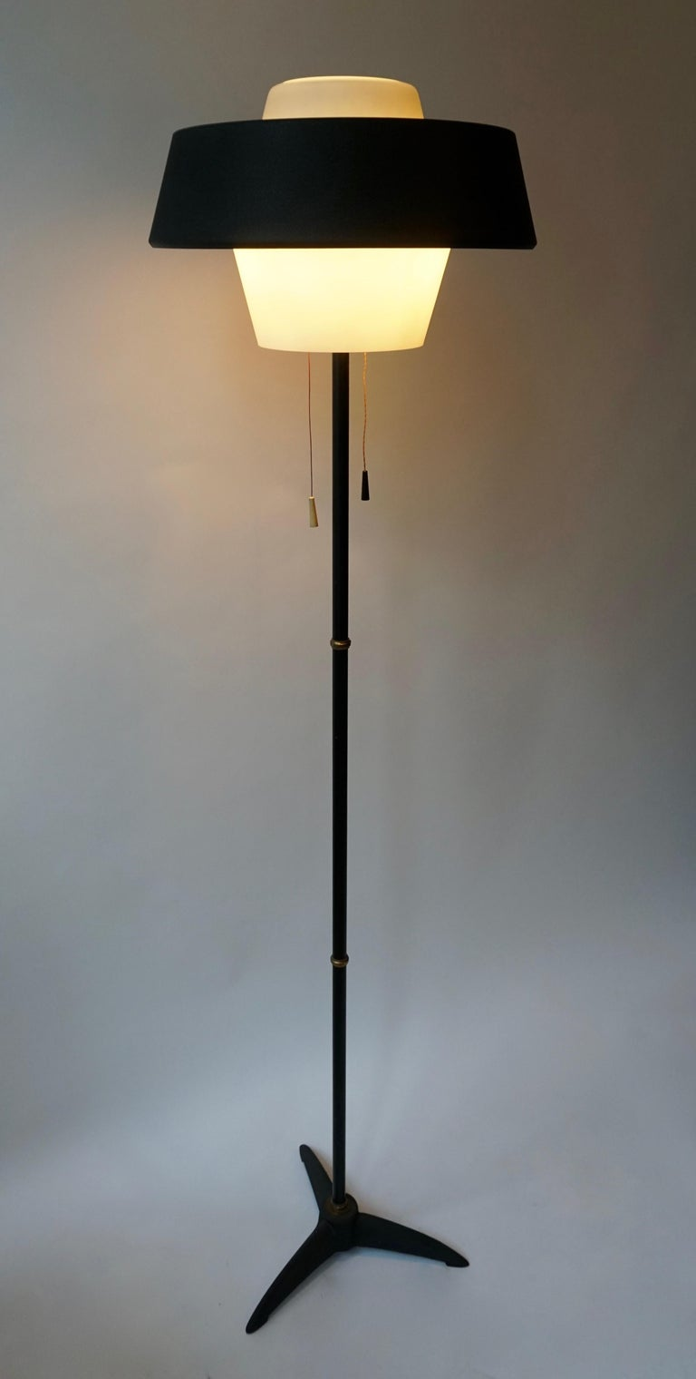 20th Century Rare Black Metal and Opaline Floor Lamp by Louis Kalff, The Netherlands 1950s For Sale