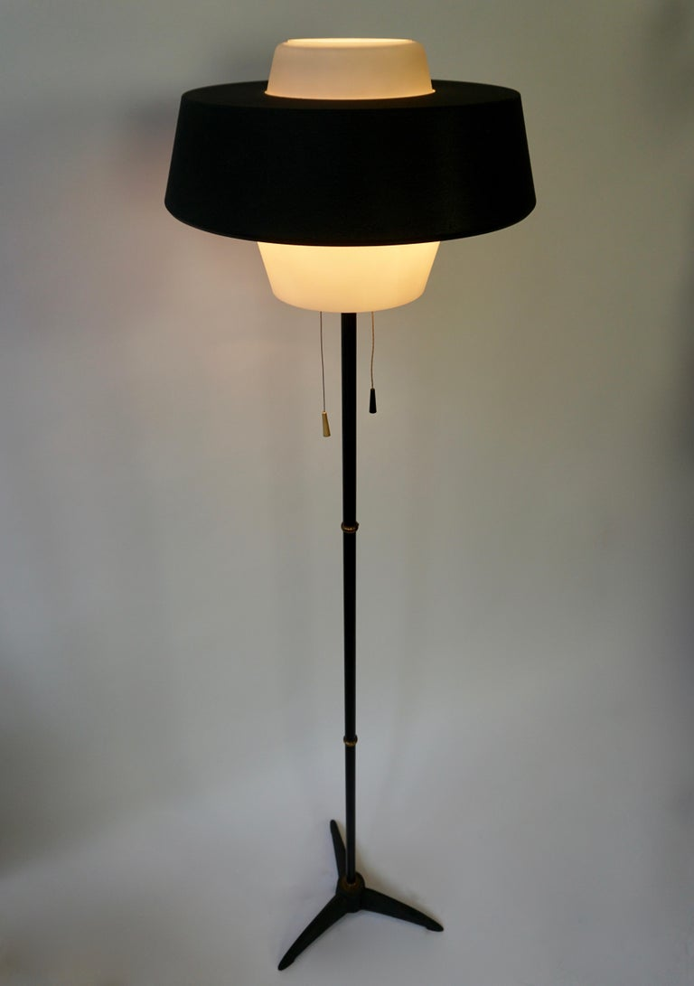 Rare Black Metal and Opaline Floor Lamp by Louis Kalff, The Netherlands 1950s For Sale 1