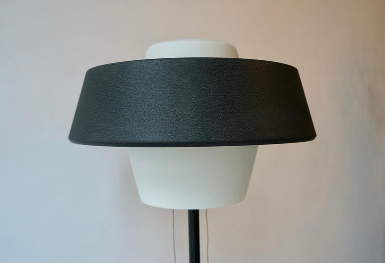 Rare Black Metal and Opaline Floor Lamp by Louis Kalff, The Netherlands 1950s For Sale 4