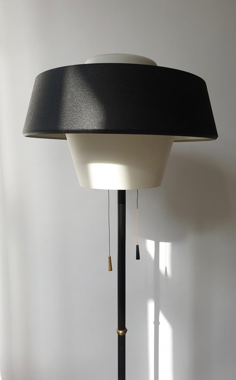 Rare Black Metal and Opaline Floor Lamp by Louis Kalff, The Netherlands 1950s For Sale 5