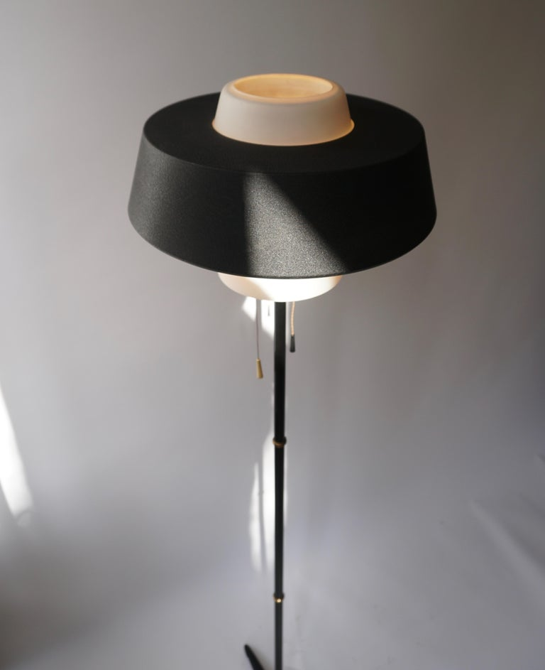 Rare Black Metal and Opaline Floor Lamp by Louis Kalff, The Netherlands 1950s For Sale 6
