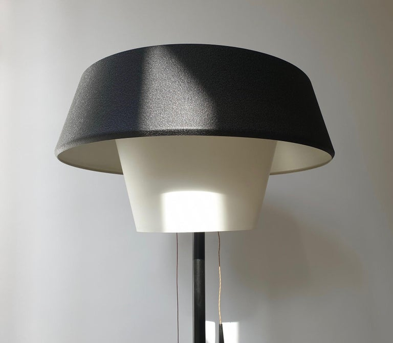 Rare Black Metal and Opaline Floor Lamp by Louis Kalff, The Netherlands 1950s For Sale 7