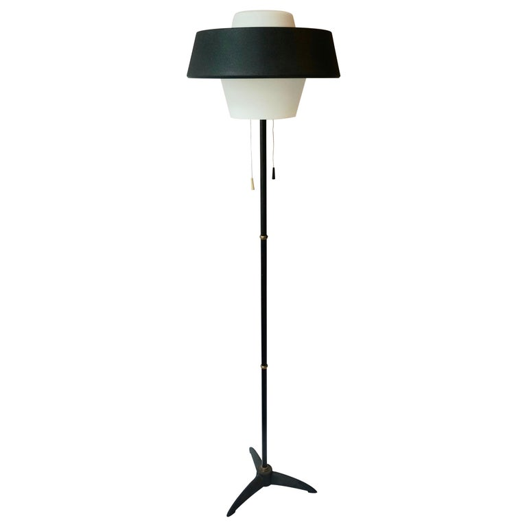 Rare Black Metal and Opaline Floor Lamp by Louis Kalff, The Netherlands 1950s For Sale