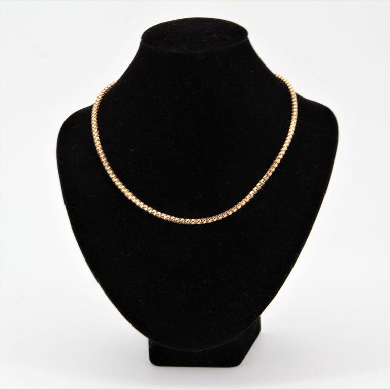 Retro French 1950s Orvet Mesh 18 Karat Rose Gold Chain For Sale
