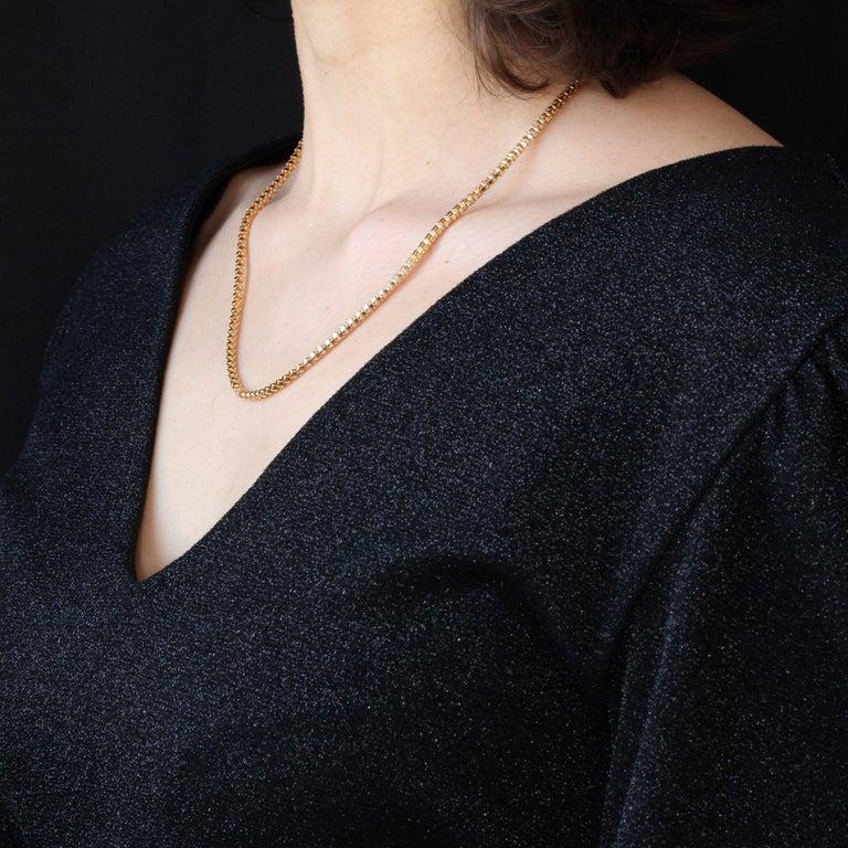 Women's French 1950s Orvet Mesh 18 Karat Rose Gold Chain For Sale
