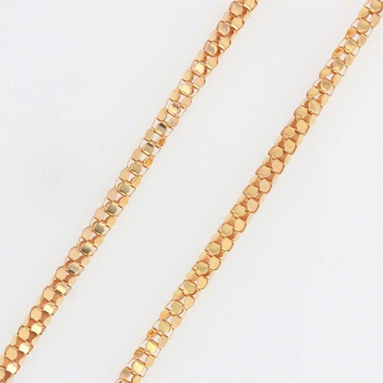 French 1950s Orvet Mesh 18 Karat Rose Gold Chain For Sale 1