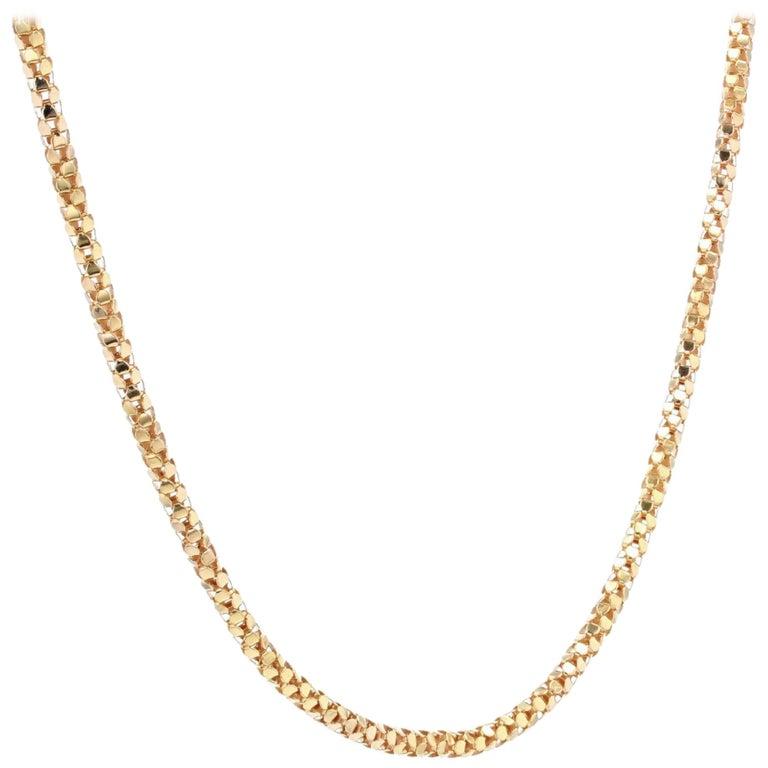 French 1950s Orvet Mesh 18 Karat Rose Gold Chain For Sale