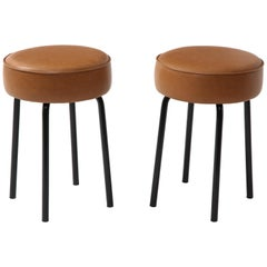 French 1950s Pair of Industrial Leather Stools on Metal Bases