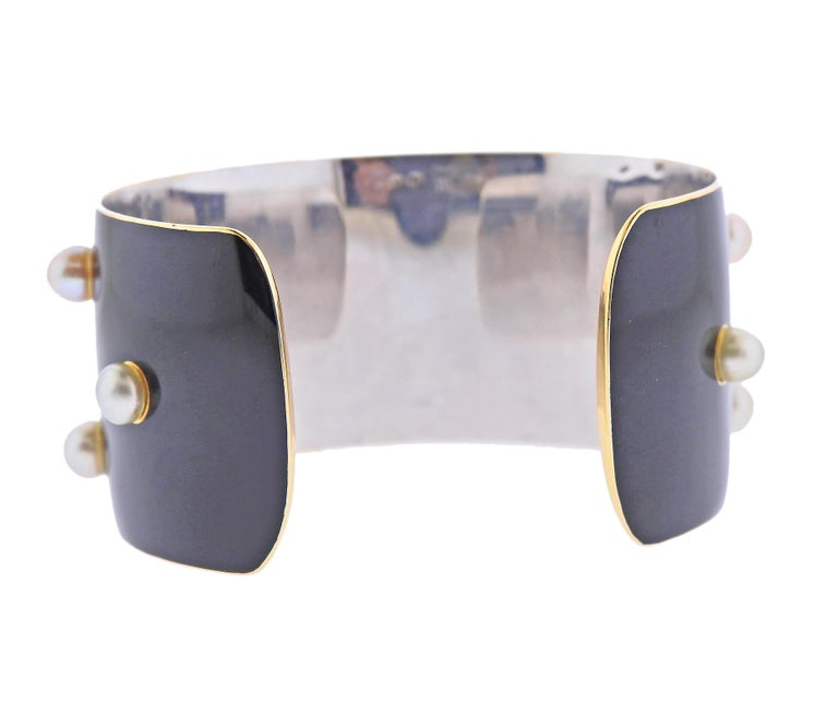 Round Cut French 1950s Pearl Enamel Gold Cuff Bracelet For Sale