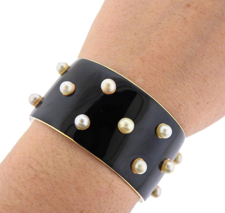 Women's French 1950s Pearl Enamel Gold Cuff Bracelet For Sale
