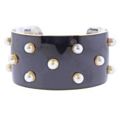 French 1950s Pearl Enamel Gold Cuff Bracelet