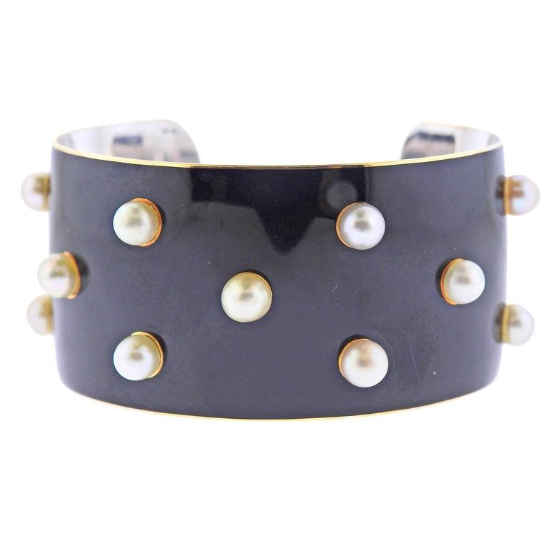 French 1950s Pearl Enamel Gold Cuff Bracelet For Sale