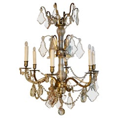 French 1950s Pewter and Crystal Chandelier with Six Outer and Six Inner Lights