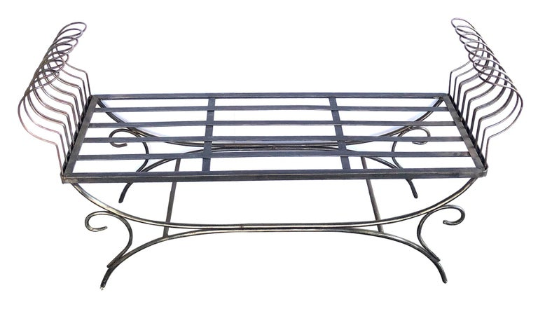Mid-20th Century French 1950s Raw Iron Curule-Form Bench with Incurved Arms For Sale