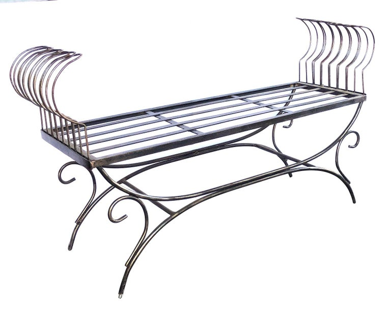 French 1950s Raw Iron Curule-Form Bench with Incurved Arms For Sale 1