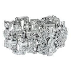 French 1950s Retro, Vintage Diamond 20.3 Carat Wide Band Bracelet in Platinum