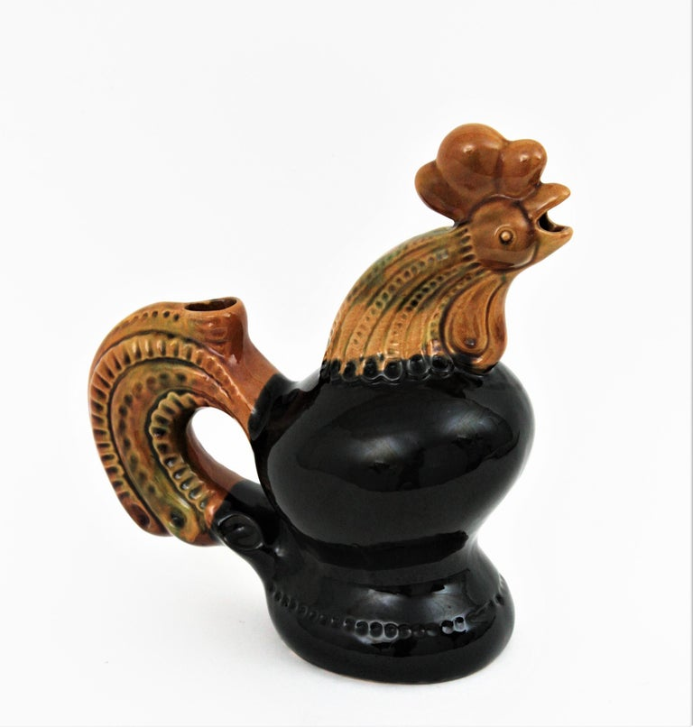 French 1950s Rooster Glazed Ceramic Pitcher For Sale 5