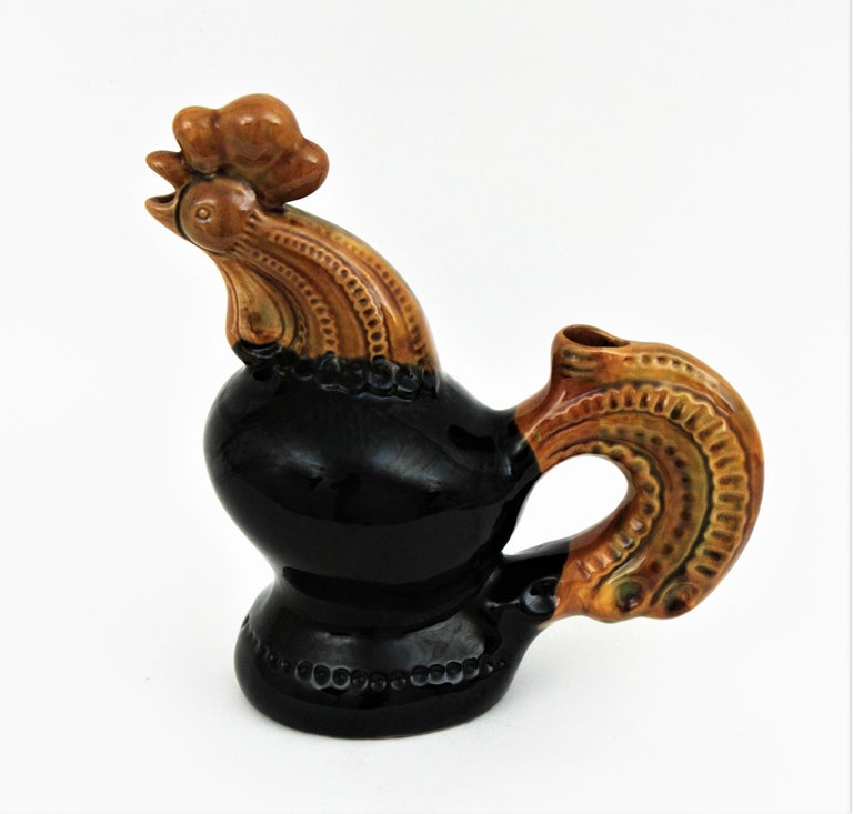 Mid-Century Modern French 1950s Rooster Glazed Ceramic Pitcher For Sale
