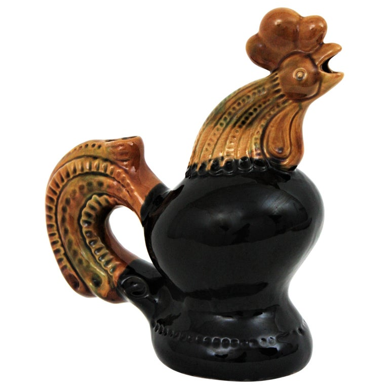 French 1950s Rooster Glazed Ceramic Pitcher For Sale