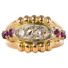French 1950s Ruby Diamonds 18 Karat Gold Gadroon Tank Ring