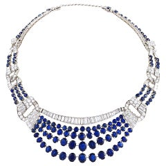 French 1950s Sapphire Diamond and Platinum Necklace
