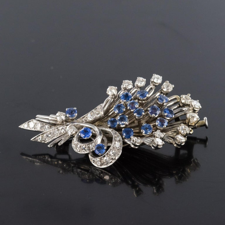 French 1950s Sapphire Diamond Platinum White Gold Bouquet Brooch For Sale 6