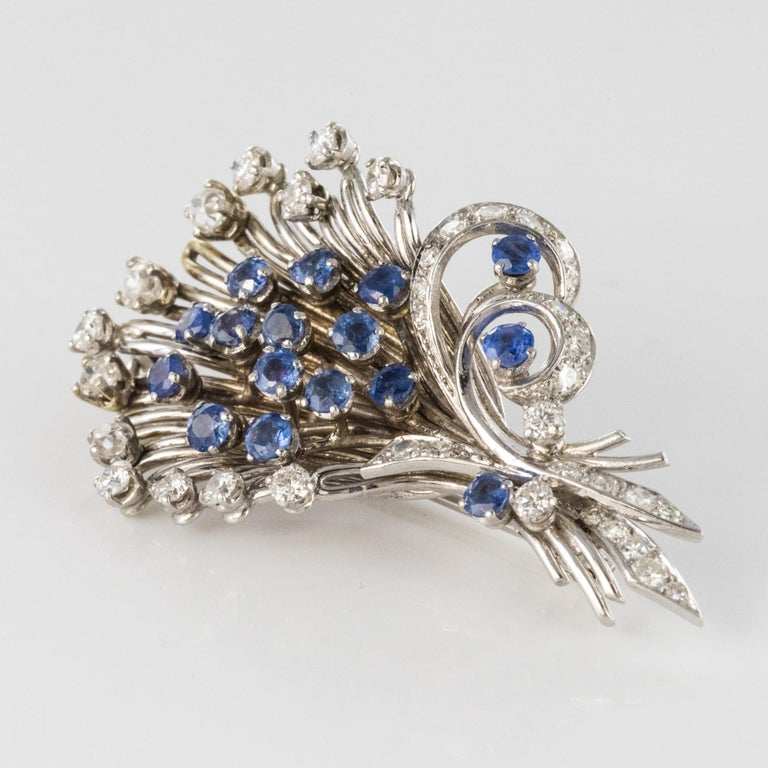 French 1950s Sapphire Diamond Platinum White Gold Bouquet Brooch For Sale 8