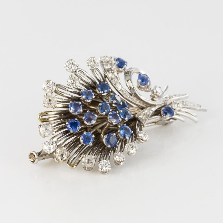 French 1950s Sapphire Diamond Platinum White Gold Bouquet Brooch For Sale 9