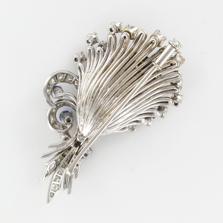 French 1950s Sapphire Diamond Platinum White Gold Bouquet Brooch For Sale 12