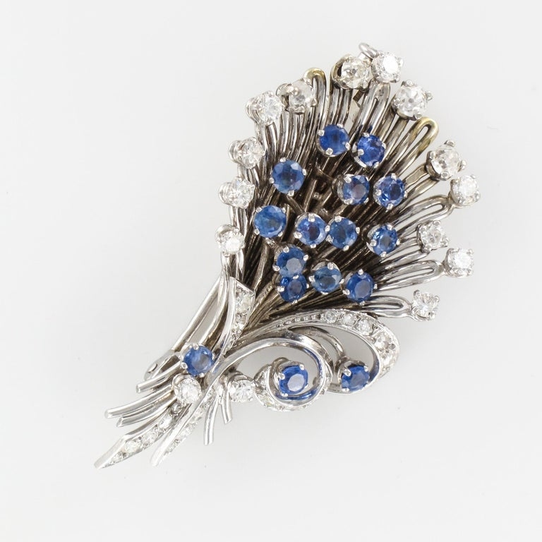 French 1950s Sapphire Diamond Platinum White Gold Bouquet Brooch For Sale 13
