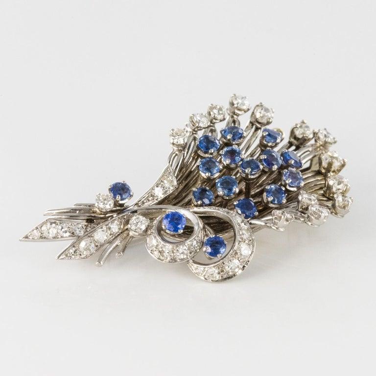 Retro French 1950s Sapphire Diamond Platinum White Gold Bouquet Brooch For Sale