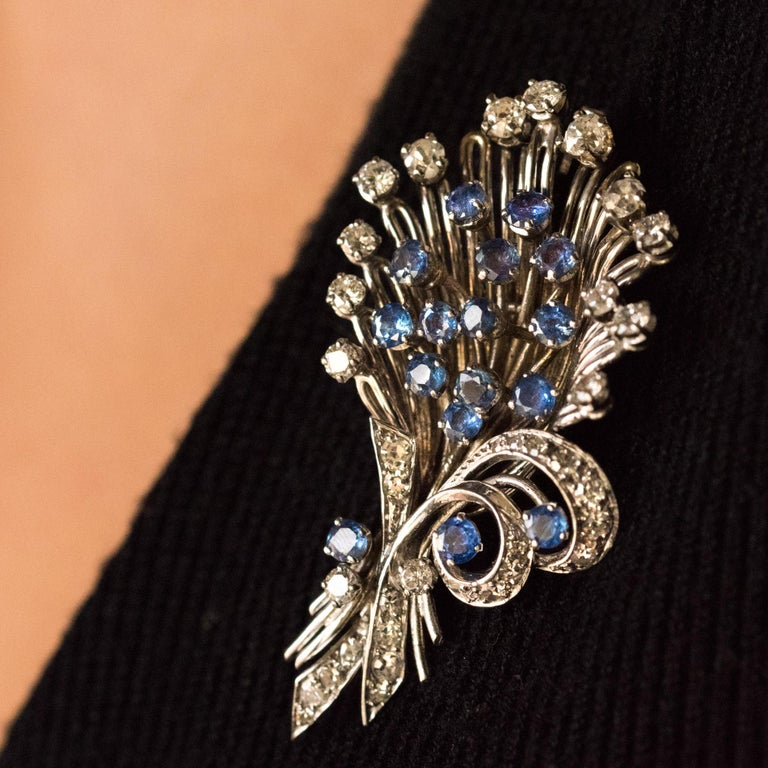 Women's French 1950s Sapphire Diamond Platinum White Gold Bouquet Brooch For Sale