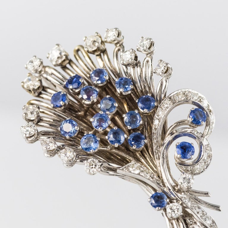French 1950s Sapphire Diamond Platinum White Gold Bouquet Brooch For Sale 3
