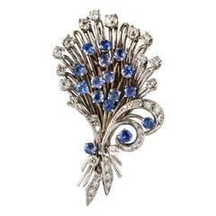 French 1950s Sapphire Diamond Platinum White Gold Bouquet Brooch
