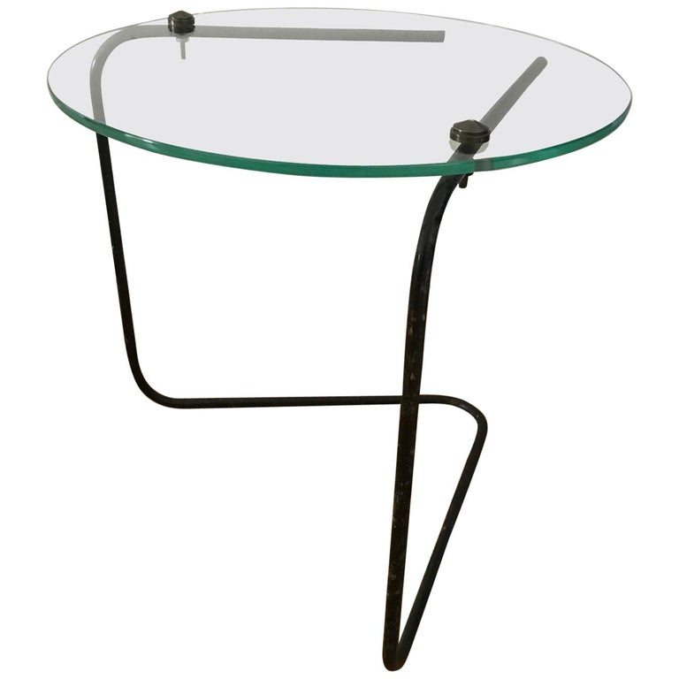 Low Metal And Glass Coffee Table: French 1950s Small Glass And Metal Low Side Table For Sale