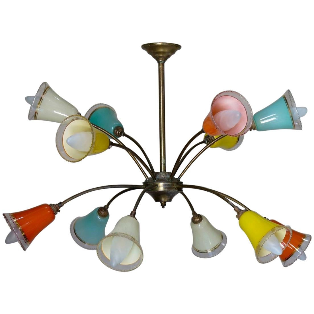 French 1950s Sputnik Chandelier with Colored Glass Shades