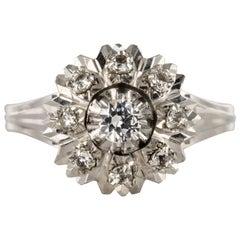 French 1950s White Sapphire 18 Karat White Gold Retro Ring