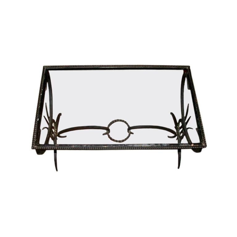 French 1950's Wrought Iron Coffee Table