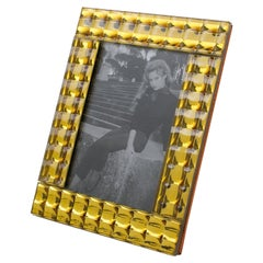 French 1950s Yellow Faceted Mirror Picture Frame