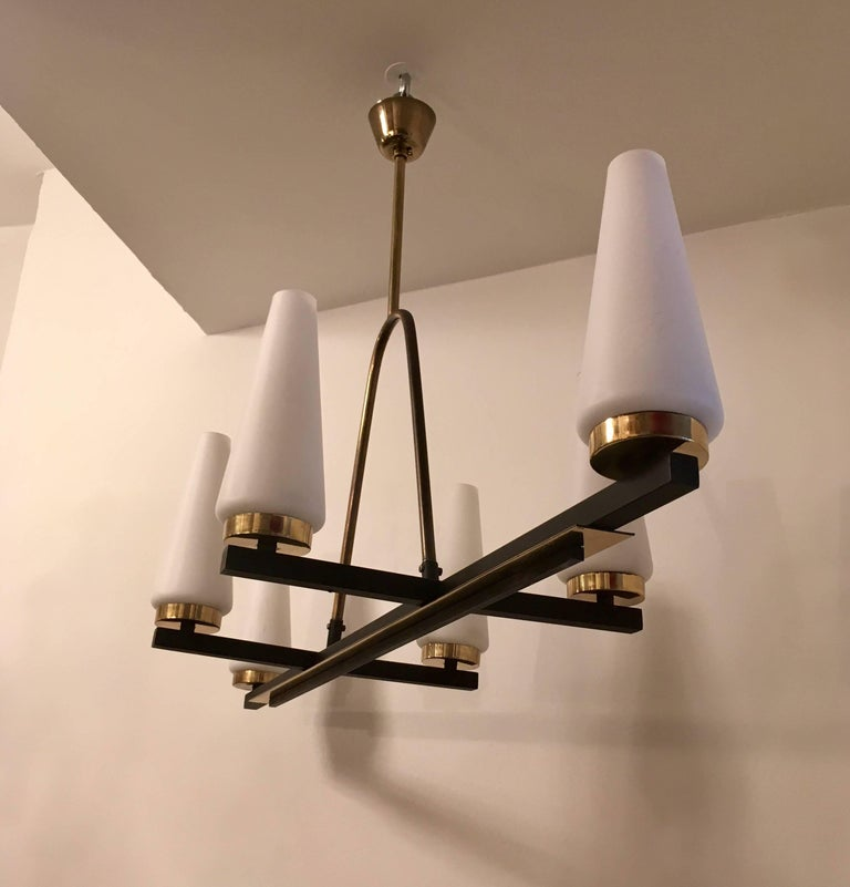 French 1960 Lunel Chandelier In Excellent Condition For Sale In New York, NY