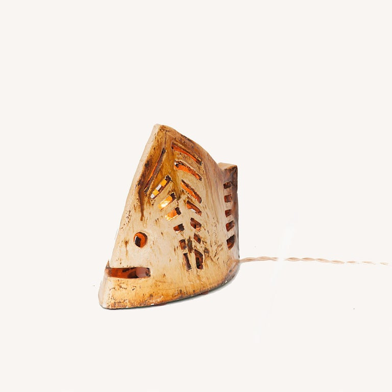 French 1960 Table Lamp in Ceramic, Representing a Fish, Brown Colored, Vallauris For Sale 3