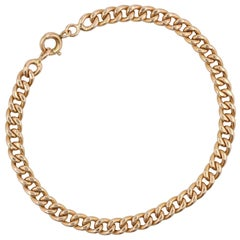 French 1960s 18 Karat Rose Gold Curb Chain Bracelet