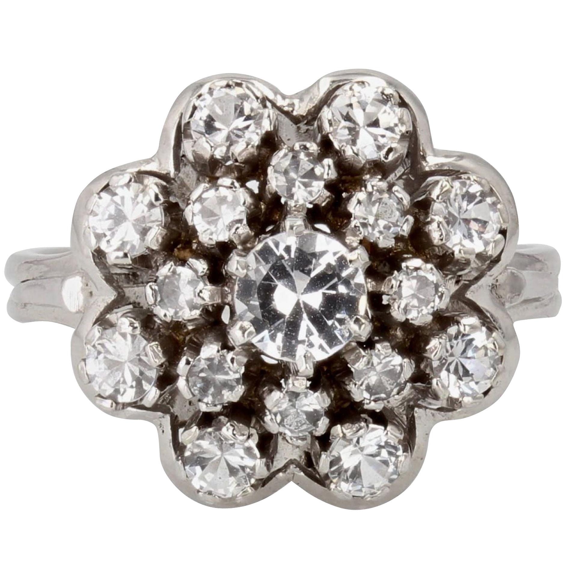 French 1960s 18 Karat White Gold White Sapphire Retro Ring