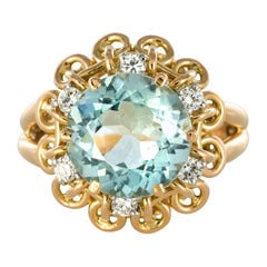 French 1960s 3.35 Carat Aquamarine Diamond 18 Karat Rose Gold Ring