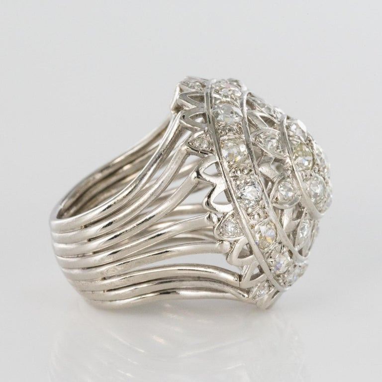 French 1960s 4.20 Carat Diamonds 18 Karat White Gold Cocktail Ring For Sale 7
